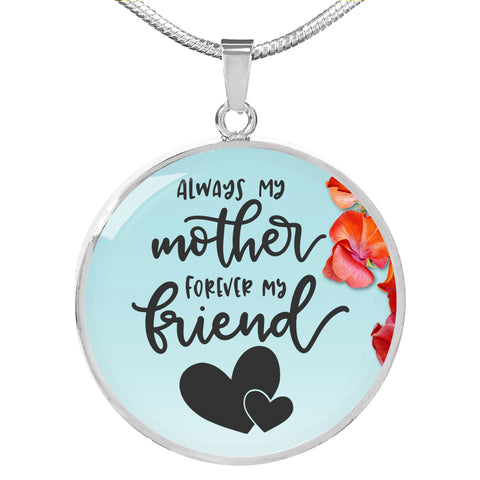 Always My Mother - Personalized Engraved Necklace - Floral