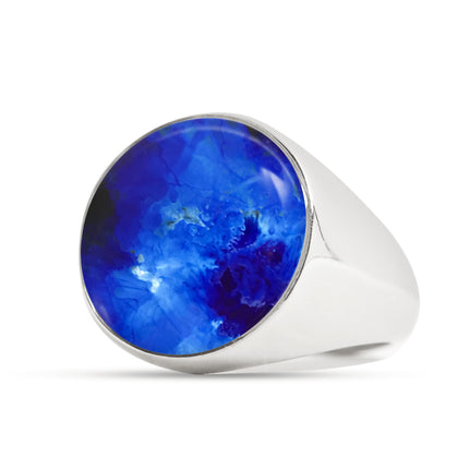 Explore Signet Ring for Men - Blue - Sizes 4-13