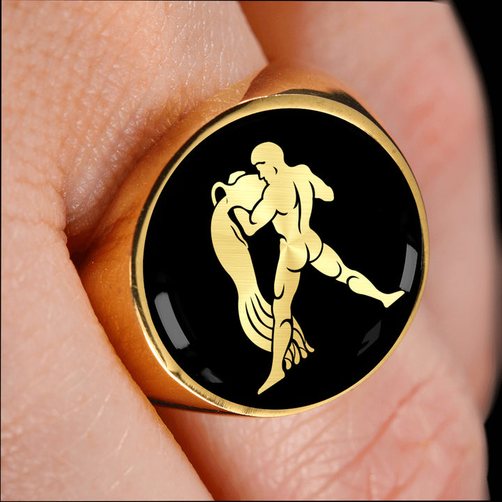 Astrological Signet Ring for Men - Aquarius