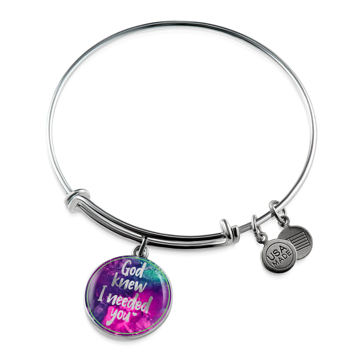 God Knew I Needed You - Personalized Bangle for Women - Multi Color - Adjustable