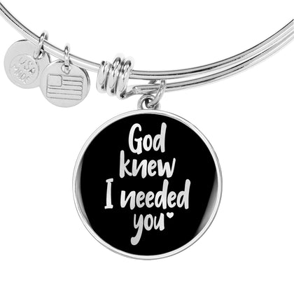 God Knew I Needed You - Personalized Bangle for Women - Black - Adjustable