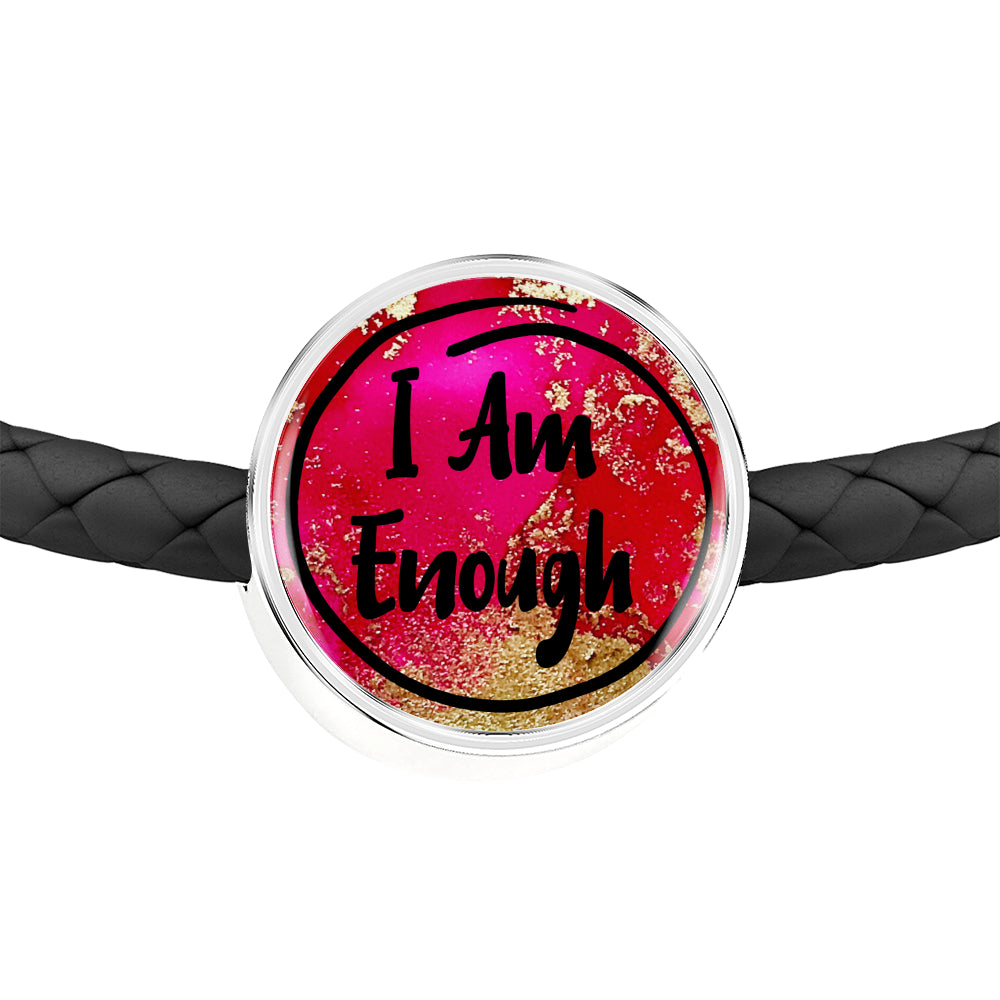 """I Am Enough"" Personalized Charm for Women with a Double Wrap Braided Leather Bracelet - Exclusive Design - Sizes S/M and M/L"