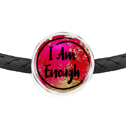 I Am Enough - Personalized Charm for Women with a Double Wrap Braided Leather Bracelet - Exclusive Design - Sizes S/M and M/L