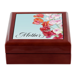 Mother - Solid Wood Felt Lined Jewelry Box - Ceramic Top