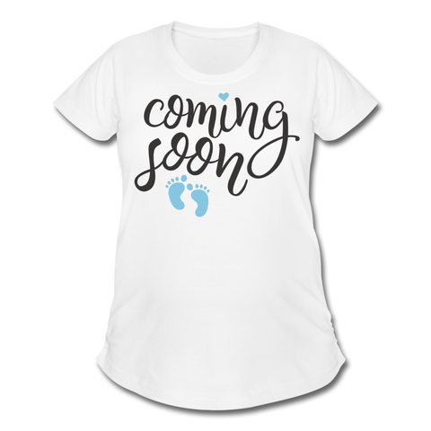 Coming Soon Maternity Shirt - Blue - white