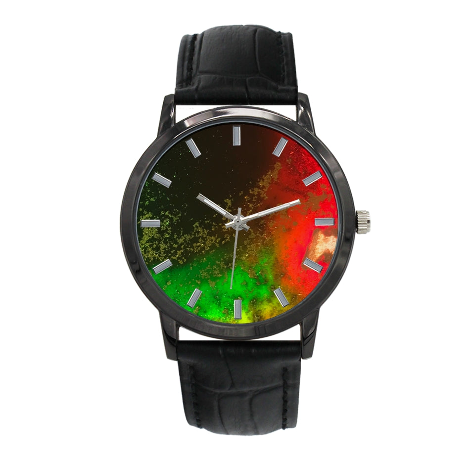 Aura 38MM Watch for Men - Black Leather Band