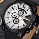 Stainless Steel Case Leather Military Watch