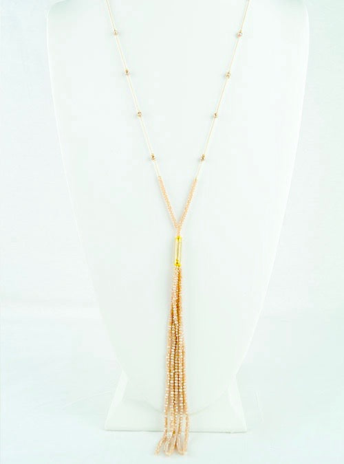 Pink tasseled bead long necklace