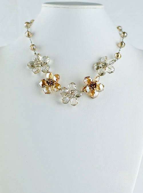 Light brown and clear crystal flowers necklace