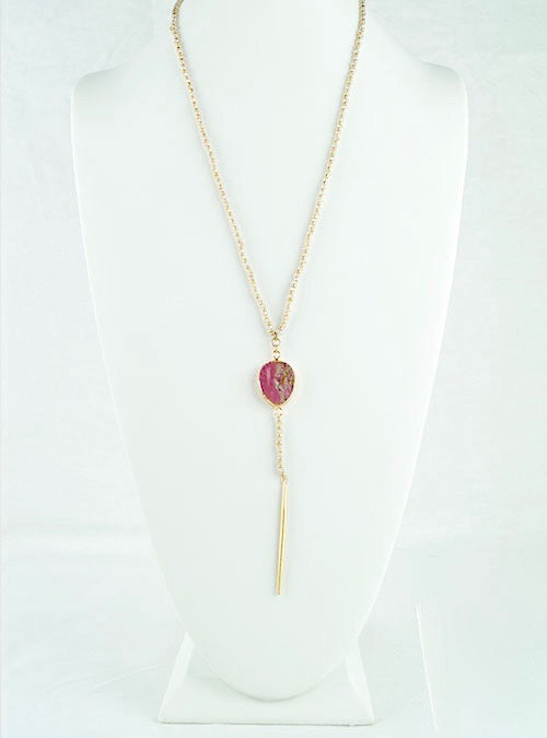 Pink and Gold Beaded Necklace Chain with Pink Stone Pedant