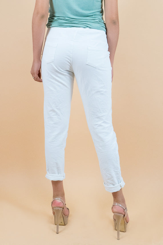 Beautiful White Jogger Pants with front over the knee sequin patches