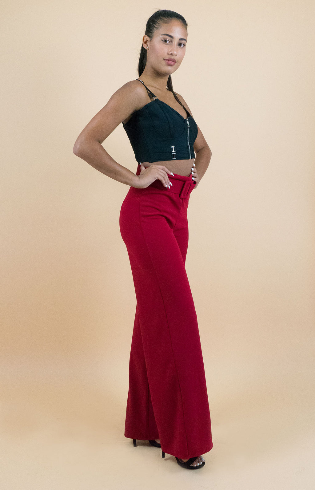 Chic and elegant Red Pull-on Pants