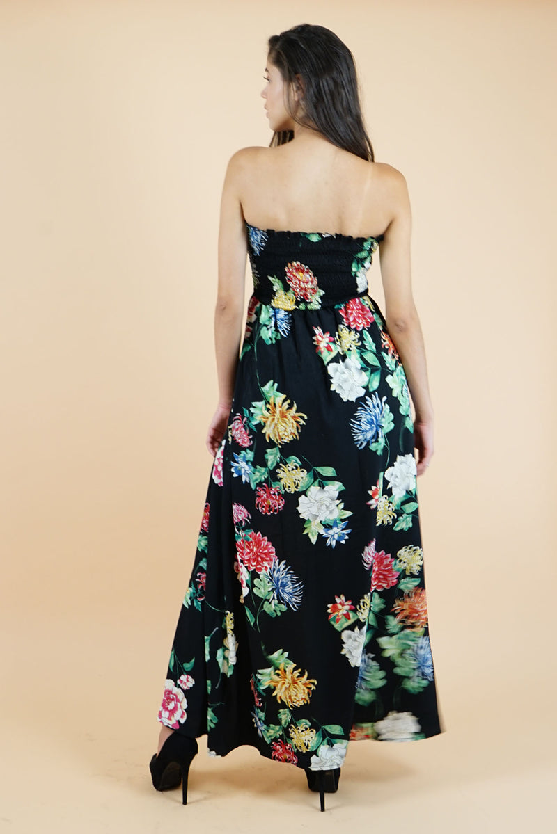 Black Floral Strapless dress and short