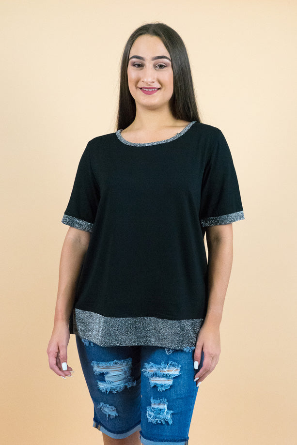 Black Flounce Easy Fit Short Sleeves Top