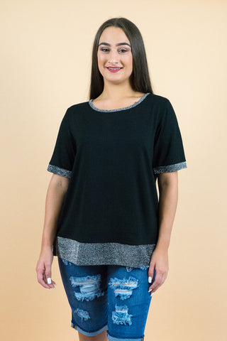 Black Short Sleeves All Over Sequin Top