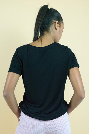 Black Scoop Neck Short Sleeves Tee