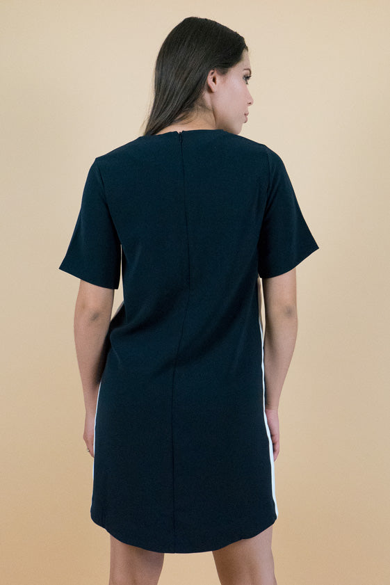 Black Short Sleeves A-Line Shift Dress