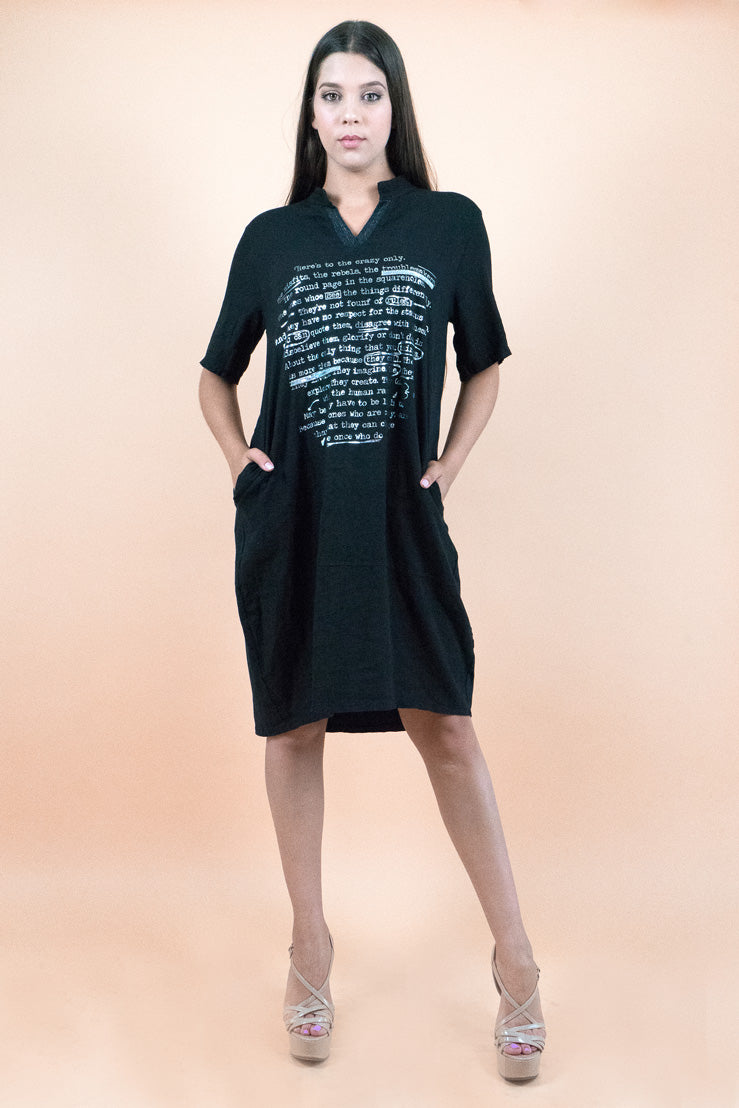 Black Short Sleeves Below the Knee Shift Dress
