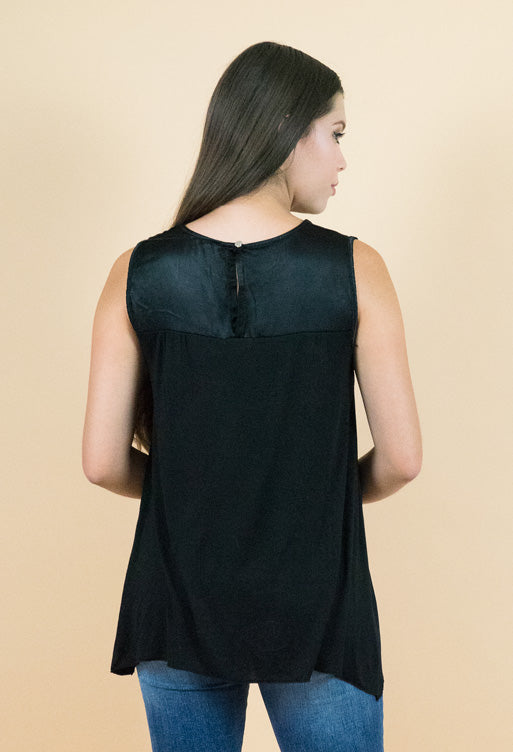 Black Sleeveless Silk top