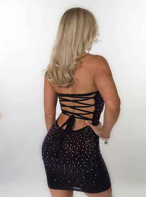 Black Strapless embellished body-con dress
