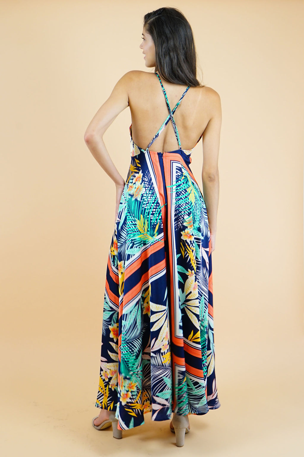 Blue Multi Scarf Print Maxi Dress