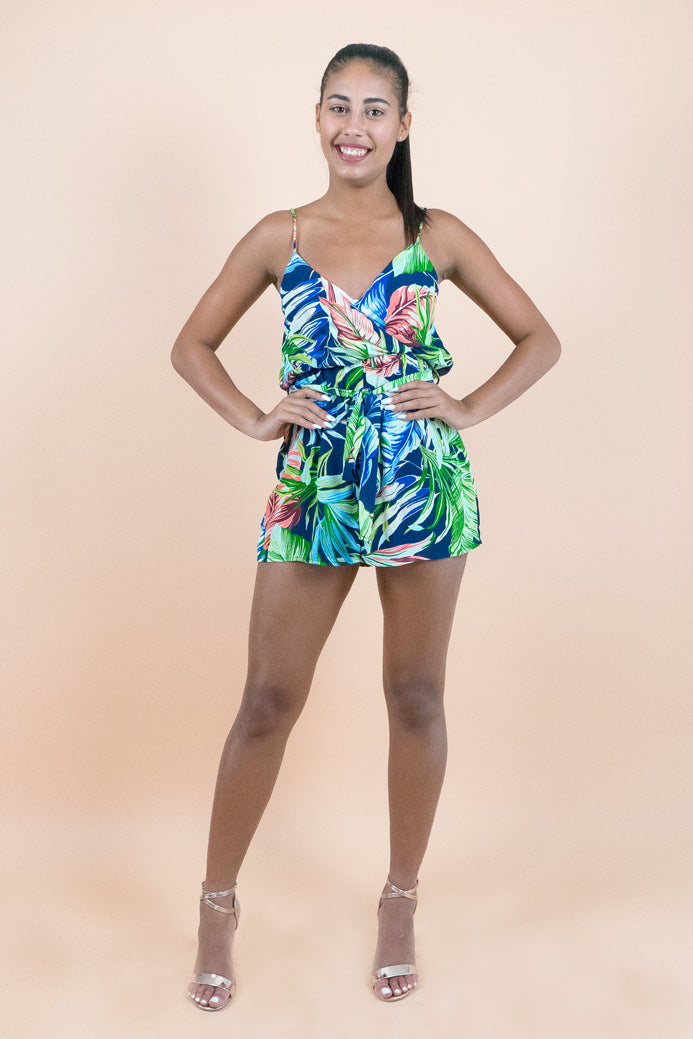 Blue Tropical Sleeveless Short Romper