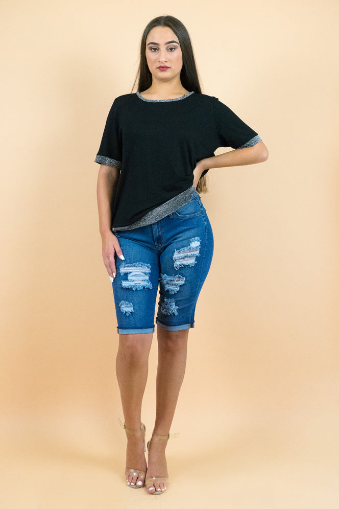Blue distressed Jean Bermuda