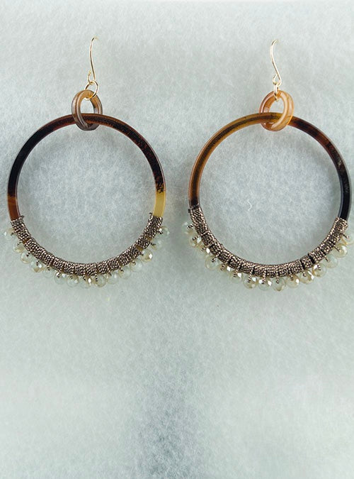 Brown tortoise drop hoop earrings with beige beads accent