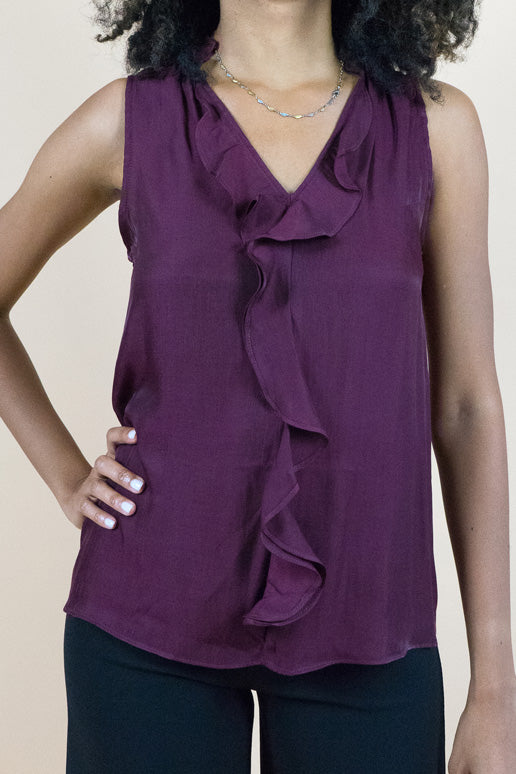 Burgundy Sleeveless Ruffled Silk top