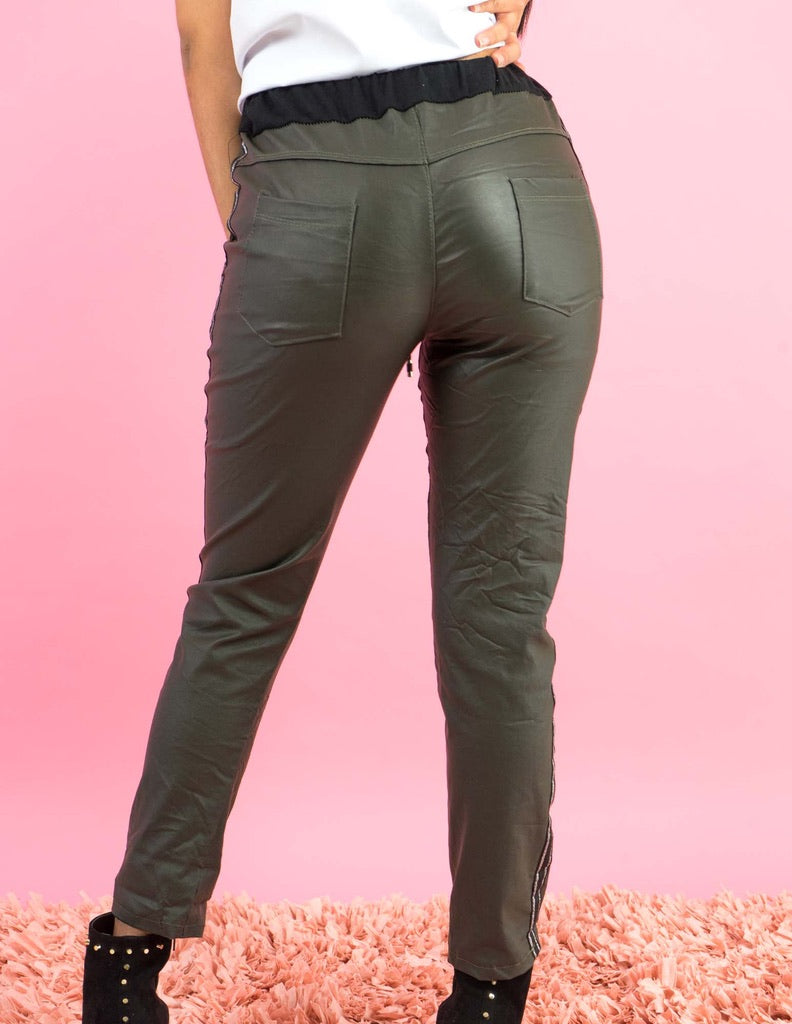 WINTER COLLECTION Green Latex Jogger Pants