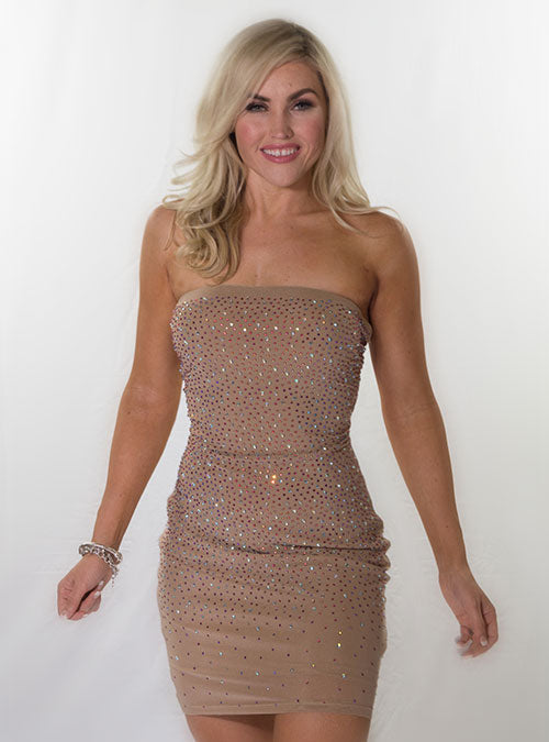 Camel Strapless embellished body-con dress.