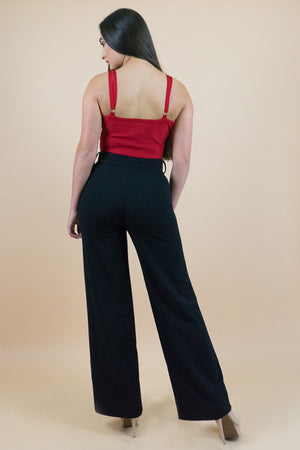 Chic and elegant Black pull-on Pants.