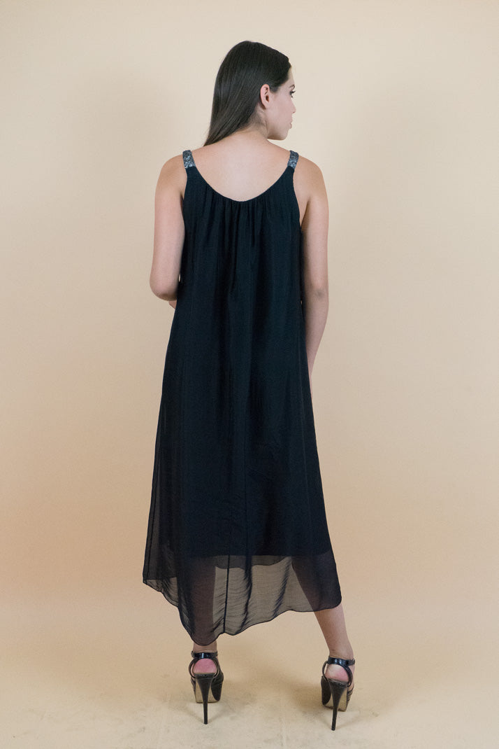 Delicate Black Unlined Romantic Long Dress