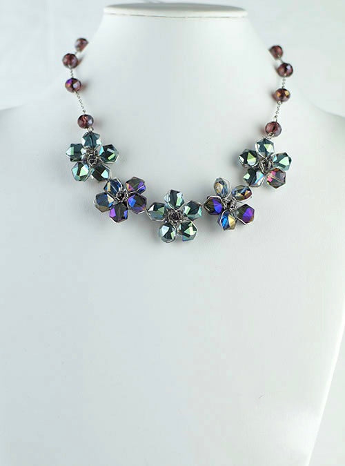 Green and Purple crystal flowers necklace