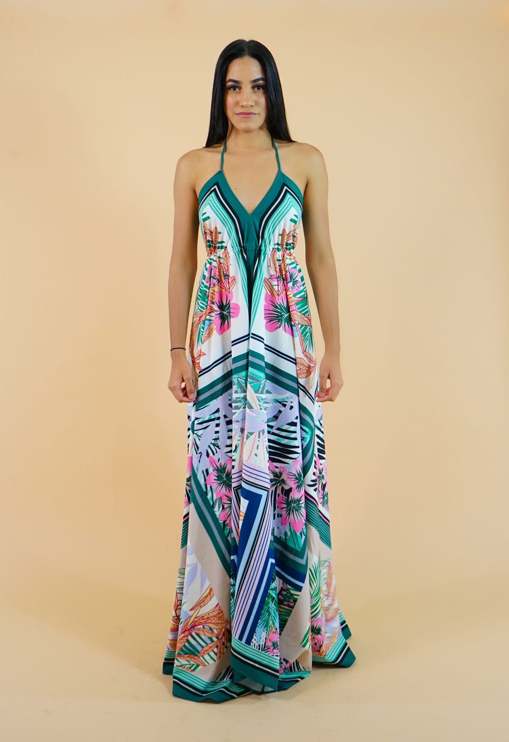 Tropical Flower Print Maxi Dress