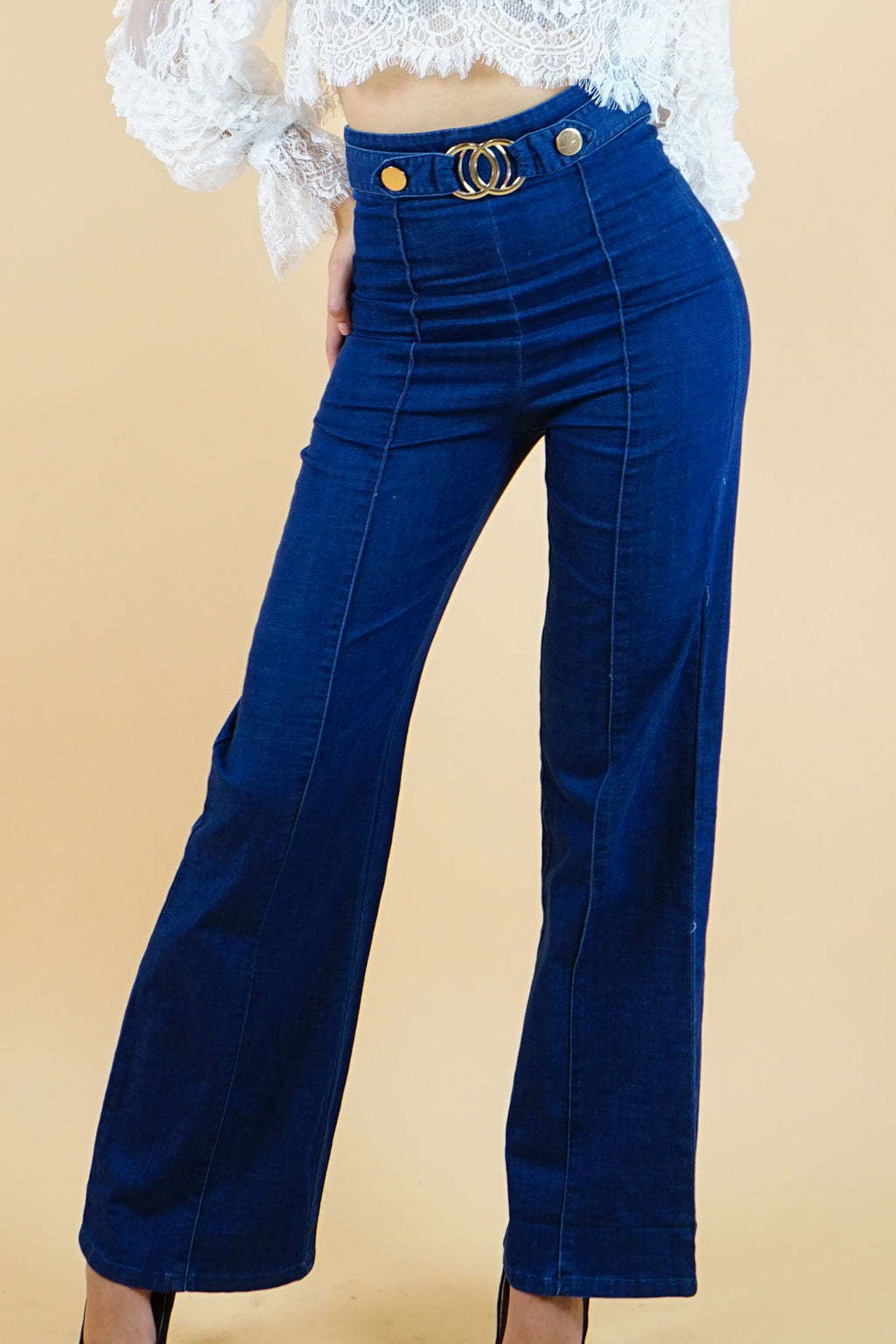 High Waist dark Denim Pants