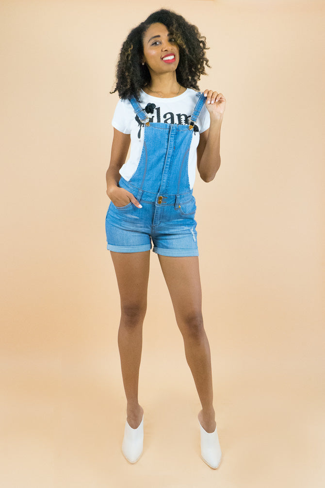 Light Blue Overall Denim Shorts