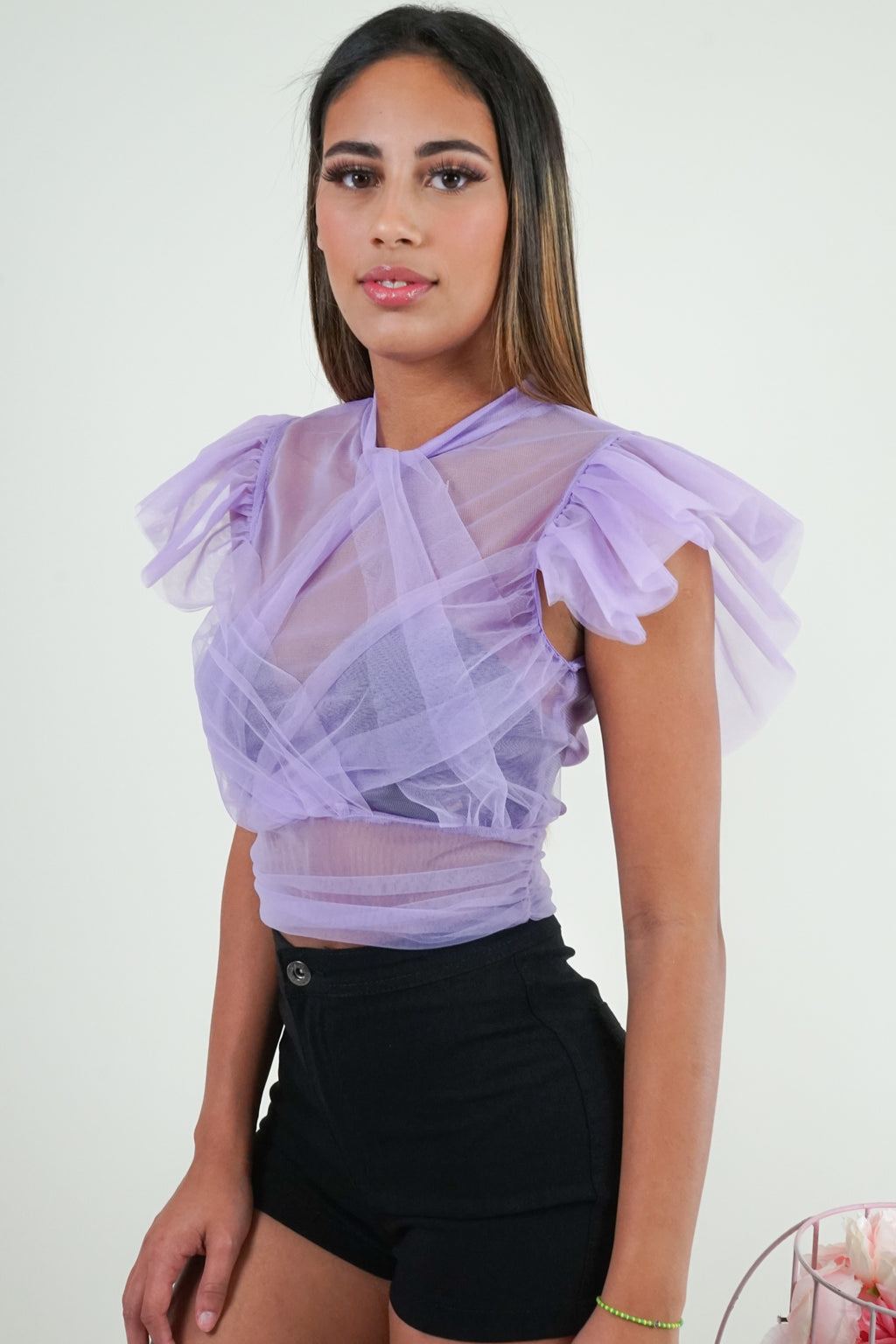 Lilac Banded Tulle Top