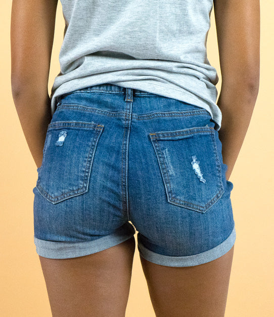 Medium Wash Distressed Denim Shorts