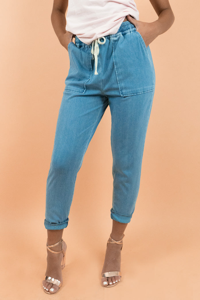 Medium Blue Stretch Denim Jogger Pants