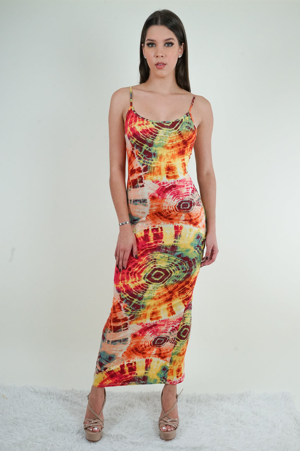 Orange Tie-Dye Maxi Dress