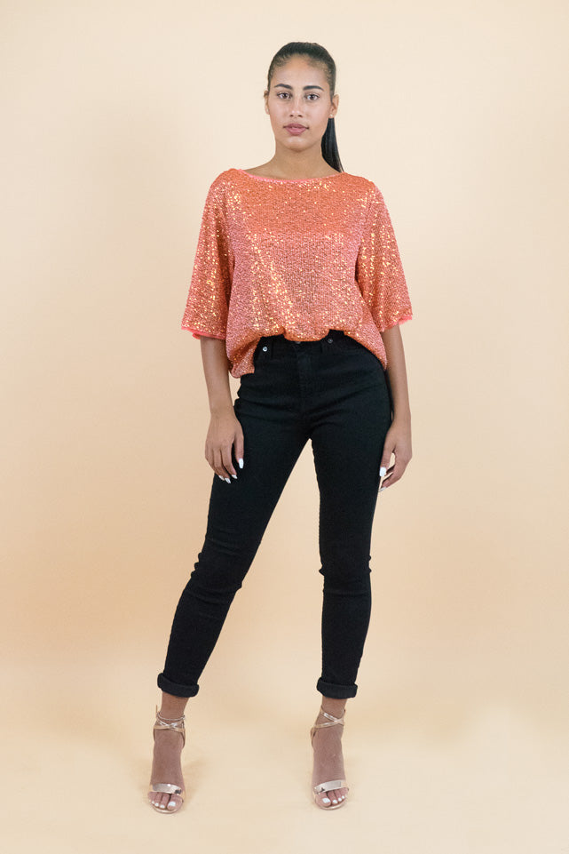 Orange Short Sleeves All Over Sequin Top