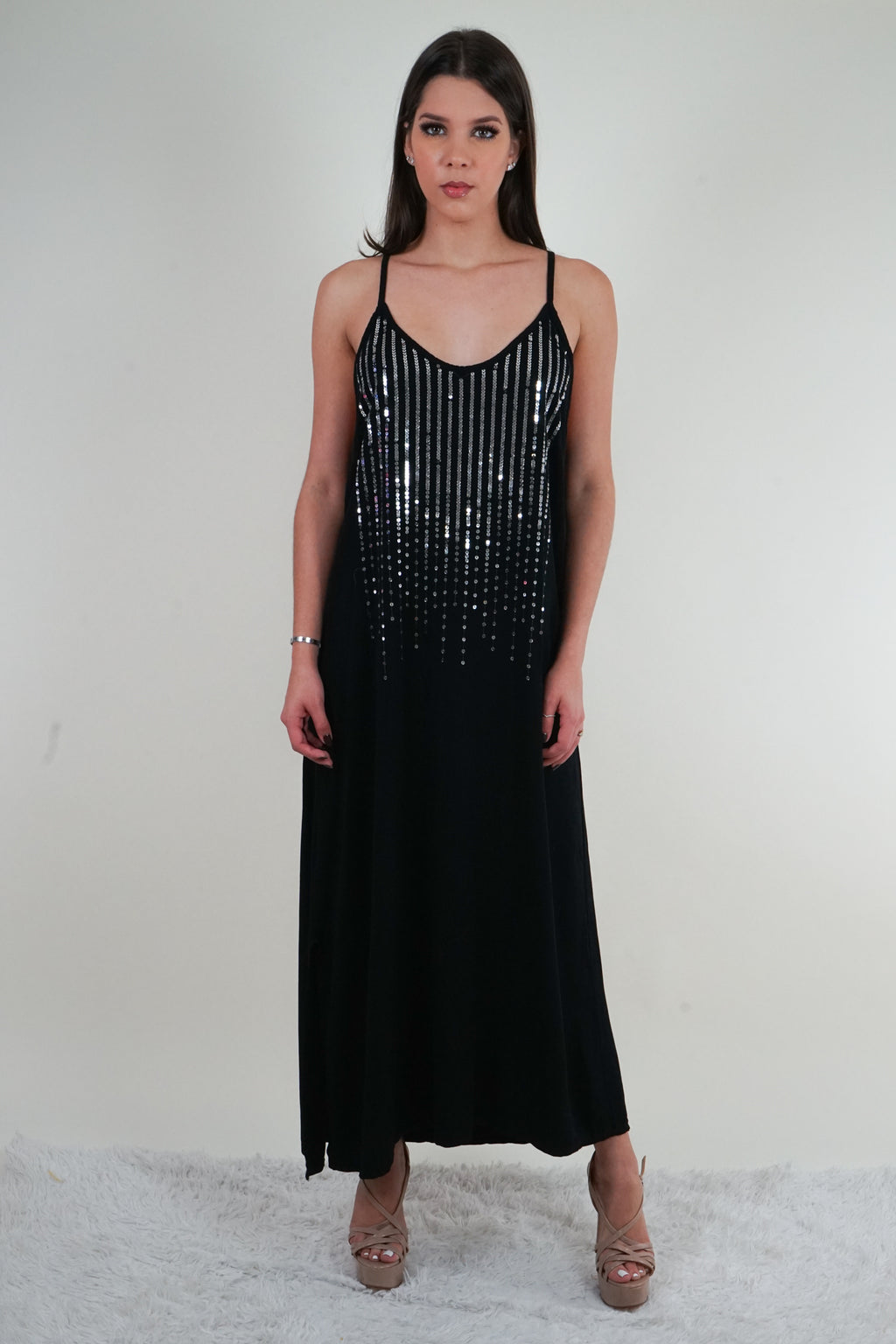 Paradise Sequin Black Maxi Dress
