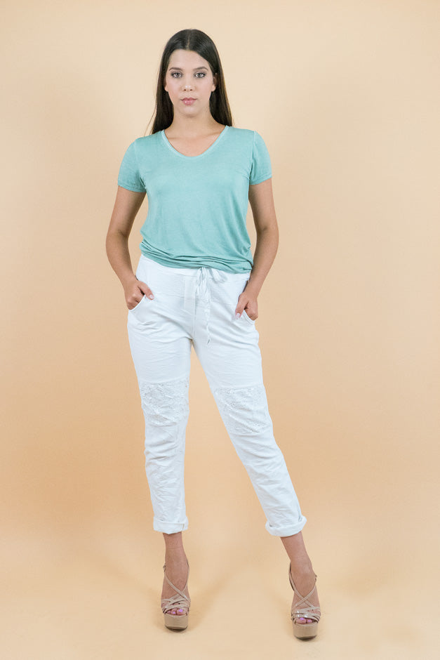 Pastel Green Scoop Neck Short Sleeves Tee