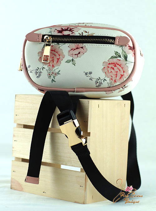 Pink Flowers Zippered Belt Bag