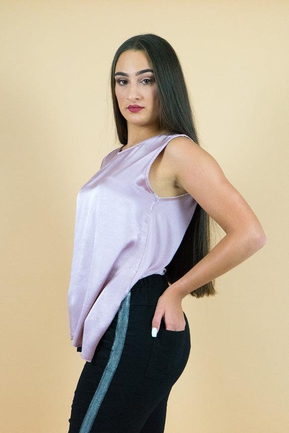Pink Sleeveless Silk top
