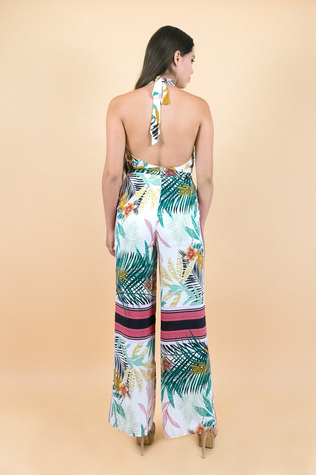 Pink Tropical Halter Jump Suit