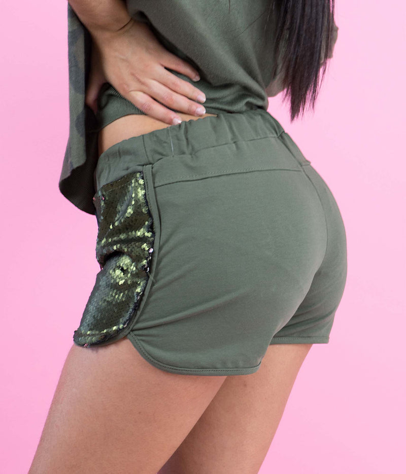 Green Sequin Shorts