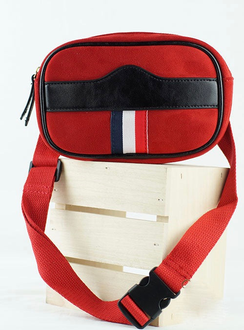 Red Suede and Leather Zippered Belt Bag