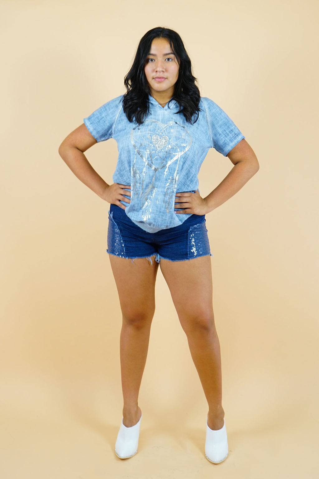 Sequin Patched Denim Shorts